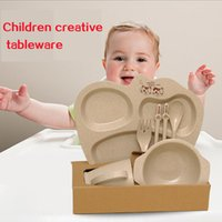 Wholesale Children s plant fiber tableware wheat fiber bowl Baby Set tableware bowl dish dish set can be used in microwave oven