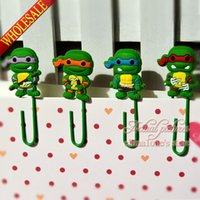 Wholesale 4pcs Teenage Mutant Ninja Turtles TMNT Paper Clips Paperclip Bookmarks for Book Page Holder School Office Party Supplies Stationery