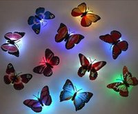 Wholesale Flash Butterfly With Sucker Night Light Decoration On Door Wall Car Etc Christmas Decoration Supplies