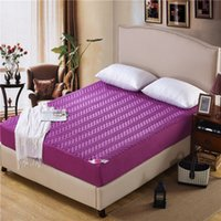 bedding mattress toppers - Hot sale solid color hotel quality fitted sheet bed mattress protective cover with fillings pad mattress topper in purple F50