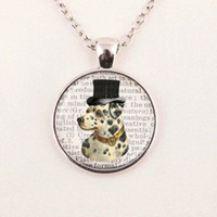 background dictionary - dalmation with a top hat on a dictionary page background art glass dome dog handmade pendant necklace jewelry