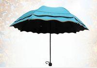 beach unbrella - New sunny and rainy princess UV protection beach three folding girls vinyl flouncing unbrella solid color