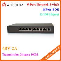 al por mayor conmutadores de red poe-Interruptor de red de 9 puertos Puerto Ethernet POE 10/100 48V 2A Distancia de transmisión 100M Woshida