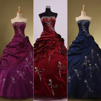 Wholesale 2015 Prom Gown Quinceanera Dresses Real Sample With Strapless Embroidery Ball Gown Sweet In Stock Navy Blue Burgundy Purple