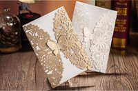 Wholesale Unique Floral Butterfly Bow Design Wedding Invitations Cards Hollow Out White Gold Invitation For Wedding Wedding Card