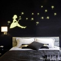 Wholesale Eco friendly Fluorescent Luminous Wall Sticker Glow in the Dark Dandelion Girl luminous paste Decal for Kids Rooms Decoration Wall
