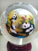 ball paints - New arrival Chinese crystal painting ball with Panda arts and crafts glass globe terrarium