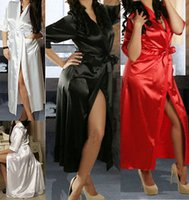 Wholesale 2014 Long Sexy New SILK Kimono Dressing Gown Bath Robe Babydoll Lingerie Nightdress