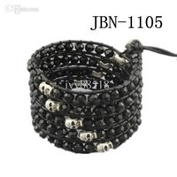 Wholesale hot High Fashion Strands Beautiful crystal beaded Leather Wrap Bracelet layer Wrap Bracelet mm cut black crystal bracelet JBN