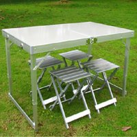 Cheap 2015 Metal Mesa Camping The Beach China Camping Casual Outdoor Folding Tables And Chairs Portable Aluminum Alloy Split Table Set
