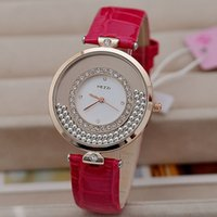 Cheap KEZZI Brand Japan Movement 18K Gold Plated Women Dress Watch Rolling Beads Quartz Watch High Quality PU Leather Clock