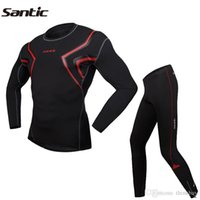 Wholesale SANTIC Compression Tights Morning Run Outdoor Sports Running Fitness Wear Clothing Shirt Pant Jersey Suit For Men Black Red