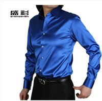 Wholesale Retail male simulation silk man leisure shirt long sleeve shirt coat