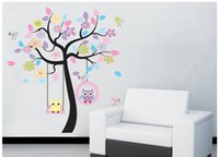 flower stickers wall - DIY cartoon wall stickers Flower Tree Owls Swing Removable Wall stickers Decor Decal Mural Children Nursery Wall Decor Kids Room