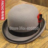 Atacado-vestido de lã chapéus de feltro fedora para homens, cartolas mágicos com pena, chapeu masculino, o pagamento paypal do transporte gratuito aceites