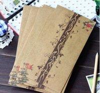 Wholesale Retro Style Beautiful Romantic Floral Design Kraft Envelope storage bag Pouch