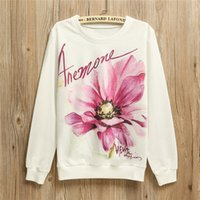 anemone flower colors - Top Hot sell Anemone flower print casual sweatshirt Women s cotton sweatshirts loose thin hoody sweatshirt one size colors