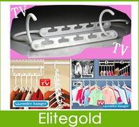 Wholesale 8pcs Pack Space Saving Hangers Wonder Magic Clothes Closet Hanger Organizer DHL