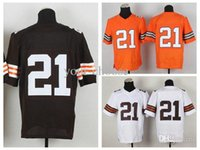 Wholesale American Football Jersey CLV White Orange Home Color Elite American Football Jersey Stitched Authentic On Field Jerseys