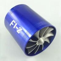 Wholesale Universal Car Air Intake Turbo Turbonator Single Fan Propellers Single Fan Kit Fuel Saver Blue