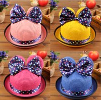 Cheap Wholesale lovely bowknot basin hat!cartoon princess topee!Summer girls straw hat,fashion baby beach hats, kids sun hats, girls caps.8 pcs.XD