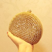 Wholesale 2015 New Gold Women s Lady Fashion Crystal Evening Bags Bridal Clutch Purse Party Handbag Shoulder Bag Wedding Bridal Bag Cheap Hot WZ