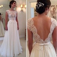 belts with bow - 2015 Chiffon Wedding Dress With Bateau Neck Cap Sleeves V Back Bow Belt A Line Floor Length Beach Bridal Gowns Cheap Custom Made