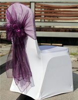 Wholesale High quality Colorful Cheap Wedding Supplies Events Party Hotel Chair Covers Ribbons Buckles Purple Organza Bows Sash Belt Bows