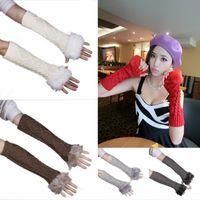 Wholesale Women s Knitting Cotton Long Arm Half Finger Gloves Lady Faux Fur Knitted Arm Mitten Fingerless Gloves DMF