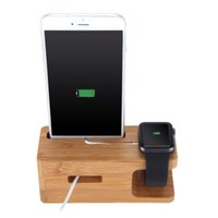 Wholesale Bamboo Charging Stand Support Holder for Apple Watch iPhone All Brands PA2364