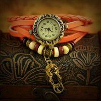 antique bronze flower vintage pendant - Drop shipping Korean Vine Wrist Watches Flower Pendant handmade weave leather bracelet watch Analog Bronze women s Quartz watch whol