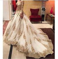 Wholesale V neck Long Sleeve Evening Dresses Gold Appliques embellished with Blink Sequins Sweep Train Amazing Prom Dresses Formal Gowns