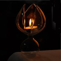 Wholesale Price Transparent Lotus Shape Glass Candle Holder Wedding Home With One Candle