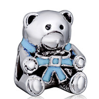 bear beads - Free shiping Blue Cute Plush Bear Charm Silver European Charms Bead Fit DIY Snake Chain Bracelet Jewelry