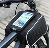Leather bicycle stuff - Bicycle Frame Pannier Bag and Front Tube Cell Phone Bag with Pouch For inch Mobile iPhone Plus Samsung S3 S4