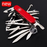 stainless steel pocket knives - Red Swiss knives pocket folding knife pocket mm multifunctional stainless steel survival knife Outdoors Folding Army Knife