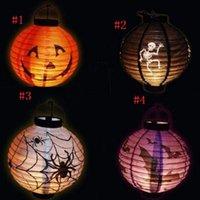 Wholesale 200pcs Novelty Halloween Hanging Decorations Paper Pumpkin Spider Bats Skull Lantern Halloween Decor Pumpkin Led Light Lanterns