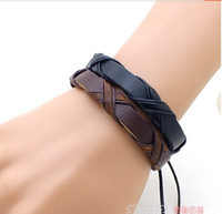 Wholesale Stylish Genuine Leather Braided Bracelets Punk cross Hemp Lover s Wristband Men s Handmade New Arrival women Mix order