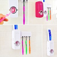 wall mounted holder - Creative Automatic Toothbrush holder Suction Toothpaste Dispenser Toothbrush Holder Wall Mount Stand bathroom sets