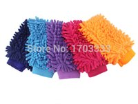 appliances waterproofing - Car wash glove towel coral thick double edged waterproof gloves Microfiber Snow Neil fiber Cleaning high density mitt cm cm