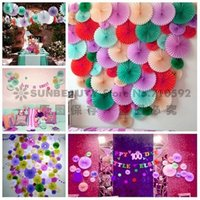 decorative fans - 9inch cm pc Honeycomb Tissue Paper Fan Pinwheels Decorative Flower Paper Crafts Party Wedding Decor Birthday Baby Shower