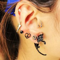 Wholesale Punk Rock Geometric Earrings For Women Accessories Brincos Para As Mulheres Unicorn Shape Cute Black Earring