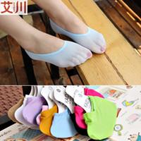 silk slippers women - DHL lovely candy color silk stockings boat socks slipper for baby girls women men embroider corap calcetines