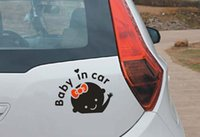 Wholesale 1PC Cartoon Car Stickers Reflective Vinyl Styling Baby In Car Warming Car Sticker Baby on Board