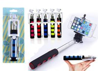 Monopied à pôle extensible Prix-Q1 Portable Foldable Selfie Monopod Extensible Handheld Câblé Control Tripod Cable Take Pole + Clip Holder pour iPhone Samsung