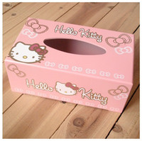 Wholesale Wooden Hello KITTY Cute Home Desk Car Tissue Case Box Container Towel Napkin Papers BAG Holder BOX Case Pouch