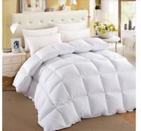 achat en gros de reine épaisse couverture-Gros-Full reine king size hiver couverture coton canard édredon épais duvet blanc rose