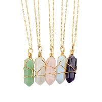 asian natural beauty - New Arrivals Women Men Pendant Necklaces Beauty Hexagonal Columns Natural Quartz Colors GA1