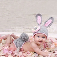 Cheap 2015 New born Baby Girl Rabbit Crochet Knit Costume Photo Photography Prop Outfit Hat Caps with pants