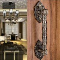 antique wood glass door - 370mm High Quality antique brass wood door handles bronze Gate door pulls KTV Hotel Glass door vintage wooden door handles